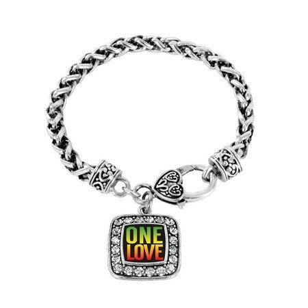 Primary image for One Love Peace Charm Classic Silver Plated Square Crystal Bracelet [Jewelry]