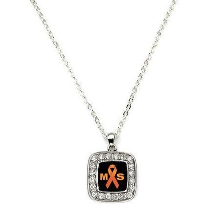 Primary image for Multiple Sclerosis Awareness Classic Silver Plated Square Crystal Necklace