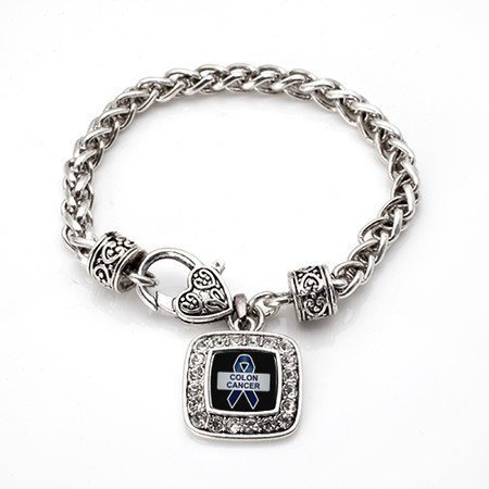 Primary image for Colon Cancer Awareness Classic Silver Plated Square Crystal Charm Bracelet