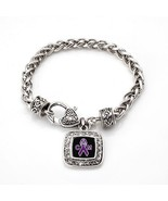 Chiari Malformation Awareness Classic Silver Plated Square Crystal Charm... - $9.80