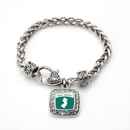 Primary image for Love New Jersey (NJ) State Classic Silver Plated Square Crystal Charm Bracelet