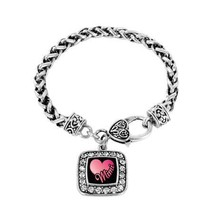 Mimi Classic Silver Plated Square Crystal Charm Bracelet [Jewelry] - $9.80