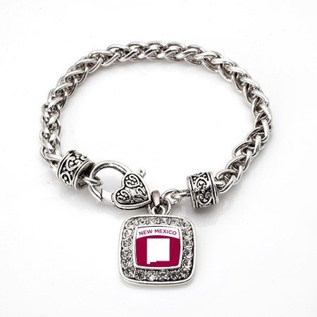 Primary image for Love New Mexico (NM) State Classic Silver Plated Square Crystal Charm Bracelet
