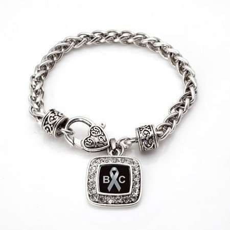 Primary image for Brain Cancer Awareness Classic Silver Plated Square Crystal Charm Bracelet