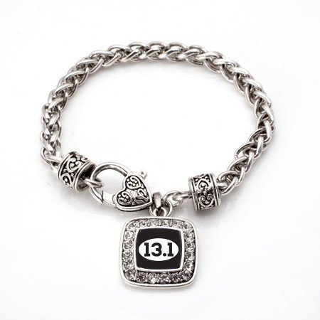 Primary image for 13.1 Half Marathon Runners Classic Silver Plated Square Crystal Charm Bracelet