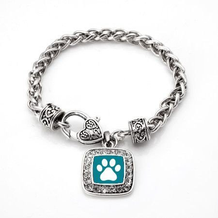 Primary image for Pretty Paw Cat or Dog Print Classic Silver Plated Square Crystal Charm Bracelet