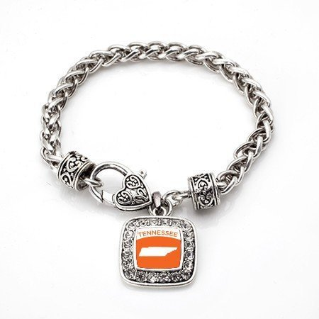 Primary image for Love Tennessee (TN) State Classic Silver Plated Square Crystal Charm Bracelet