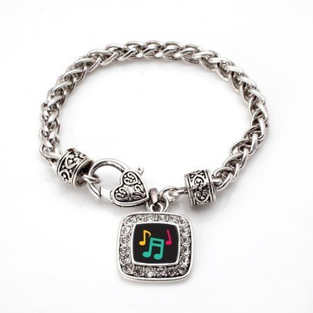 Primary image for Musical Notes Classic Silver Plated Square Crystal Charm Bracelet [Jewelry]