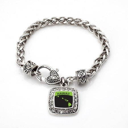 Primary image for Love Hawaii (HI) State Classic Silver Plated Square Crystal Charm Bracelet