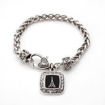 Eiffel Tower Classic Silver Plated Square Crystal Charm Bracelet [Jewelry] - £7.02 GBP