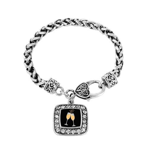 Primary image for Champagne Lovers Classic Silver Plated Square Crystal Charm Bracelet [Jewelry]