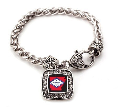 Primary image for Arkansas (AR) Flag Classic Silver Plated Square Crystal Charm Bracelet [Jewelry]