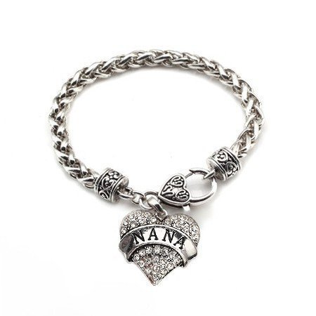 Primary image for Nana 1 Carat Classic Silver Plated Heart Clear Crystal Charm Bracelet Jewelry