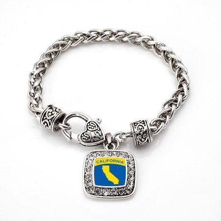 Primary image for Love California (CA) State Classic Silver Plated Square Crystal Charm Bracelet