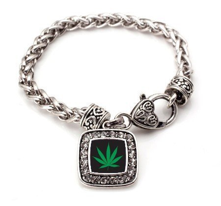 Primary image for Marijuana Weed Leaf Classic Silver Plated Square Crystal Charm Bracelet