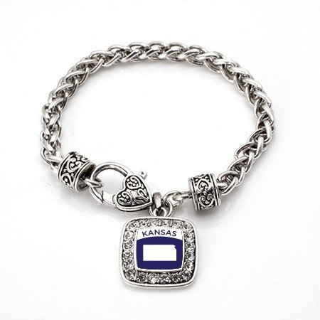 Primary image for Love Kansas (KS) State Classic Silver Plated Square Crystal Charm Bracelet