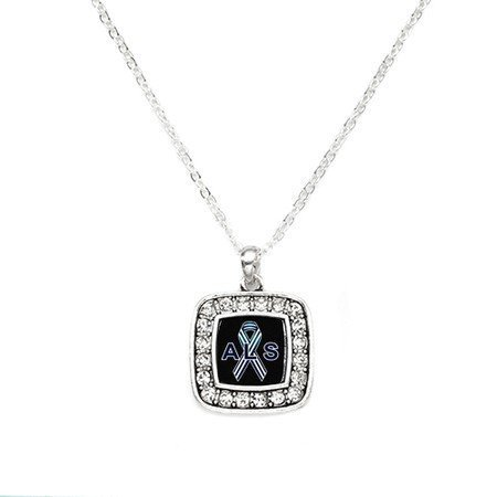 Primary image for ALS Awareness Classic Silver Plated Square Crystal Necklace [Jewelry]