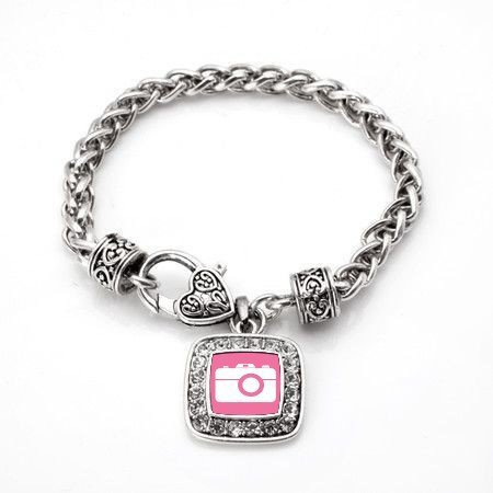 Primary image for Pink Camera Photographers Classic Silver Plated Square Crystal Charm Bracelet