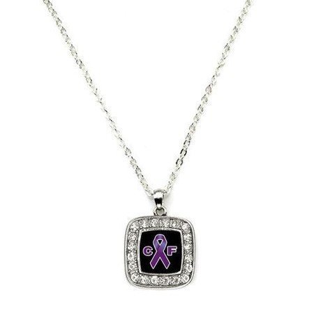 Primary image for Cystic Fibrosis Awareness Classic Silver Plated Square Crystal Necklace
