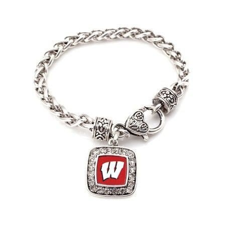 Primary image for Wisconsin Badgers Classic Silver Plated Square Crystal Charm Bracelet [Jewelry]