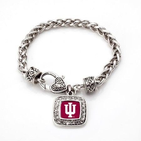 Primary image for Indiana Hoosiers Classic Silver Plated Square Crystal Charm Bracelet [Jewelry]
