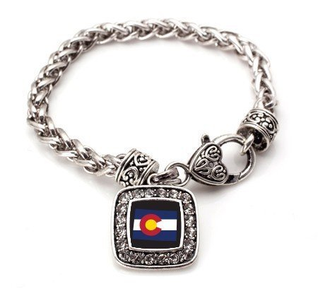 Primary image for Colorado (CO) Flag Classic Silver Plated Square Crystal Charm Bracelet [Jewelry]