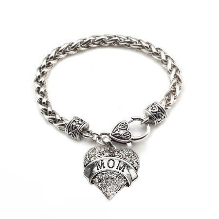 Primary image for Mom 1 Carat Classic Silver Plated Heart Clear Crystal Charm Bracelet Jewelry