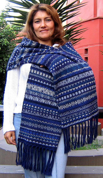 Alpaca wool scarf, shawl with 78 Inches, blue wrap