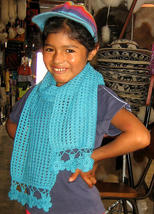 Light blue scarf, shawl made of alpacawool   - $31.00