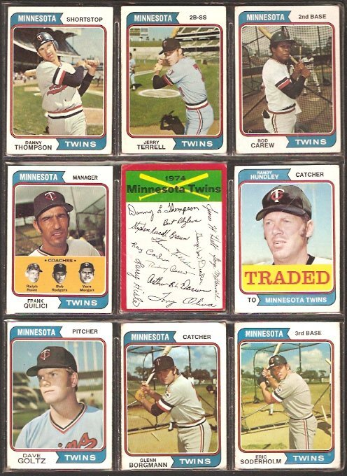 Primary image for MINNESOTA TWINS 18 DIFF 1974 TOPPS ROD CAREW DANNY THOMPSON JERRY TERRELL DAVE G