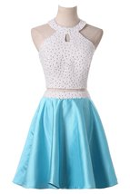Short Beaded Homecoming Dresses Two Piece Halter Satin Prom Dress,Cocktail Dress - $127.00