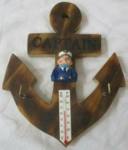 Crew Sea Captain Fisherman Wooden Nautical Anchor Thermometer Keyholder ... - $12.86