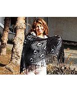 Black crocheted wrap, made of Alpacawool, shawl - $163.00