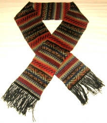 Ethnical peru scarf, made of alpacawool, 63x9.3 Inches