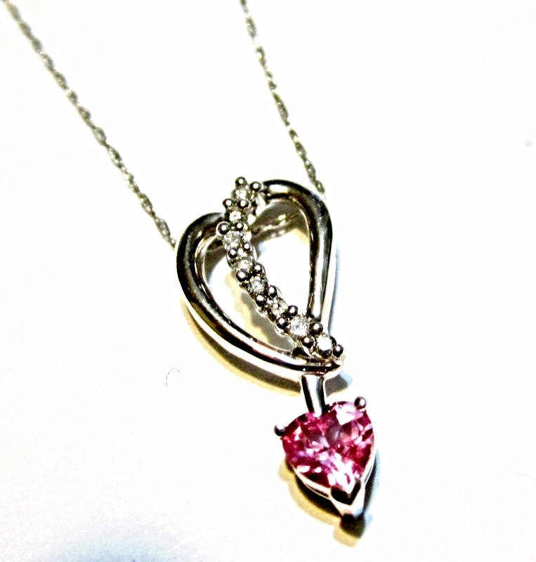 "Primary image for 14K White Gold Pink Topaz Heart & Diamond Pendant w/ 18""L Chain, 0.90(TCW)"