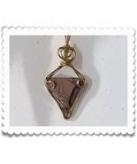 Triangular Jasper Pendant 14K rolled Gold Sculpture - $58.00