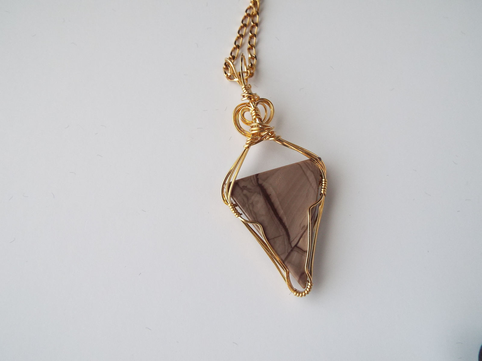 Triangular Jasper Pendant 14K rolled Gold Sculpture