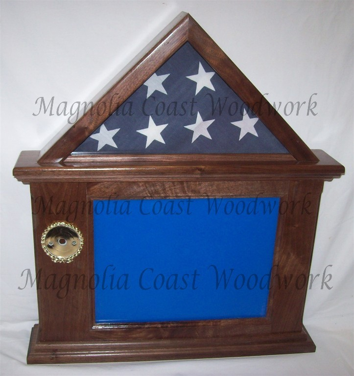 Primary image for Walnut Flag and Documnet Certificate Display Case, 3x5 Flag, Made in USA