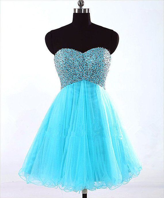 Sweetheart Light Blue Sleeveless Tulle Short/Mini Prom/Formal /Cocktail Dress for sale  USA