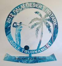 Golf Tournament Trophy 2012 Palm Desert Rotary 3rd Place Net Metal Award... - $17.00