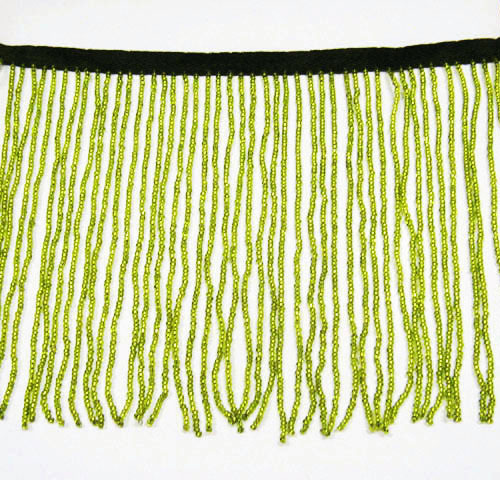 "Primary image for 38"" W SUPPER 6"" HIGH CRAFT ACCESSORIES TRIM ALL GLASS SEED BEADED FRINGE 6GREEN"