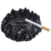 Decorative Skulls and Crossbones in Flames Ashtray for Spooky Skeleton H... - $16.88