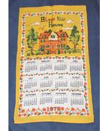 VINTAGE 1978 LINEN CALENDAR KITCHEN TOWEL BLESS THIS HOUSE YELLOW - $11.84