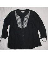 JM COLLECTION black 100% LINEN 3/4 sleeve Embroidered ButtonTop sz 10  EUC - $9.99