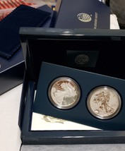 2012 Silver Eagle 2 coin proof & enhanced set lot M 546