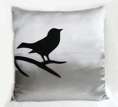 Black Bird On Brunch Silver Grey Pillow Cover. Light Grey Modern Bird Cu... - $26.50