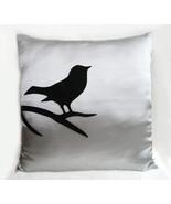 Black Bird On Brunch Silver Grey Pillow Cover. Light Grey Modern Bird Cu... - $26.50
