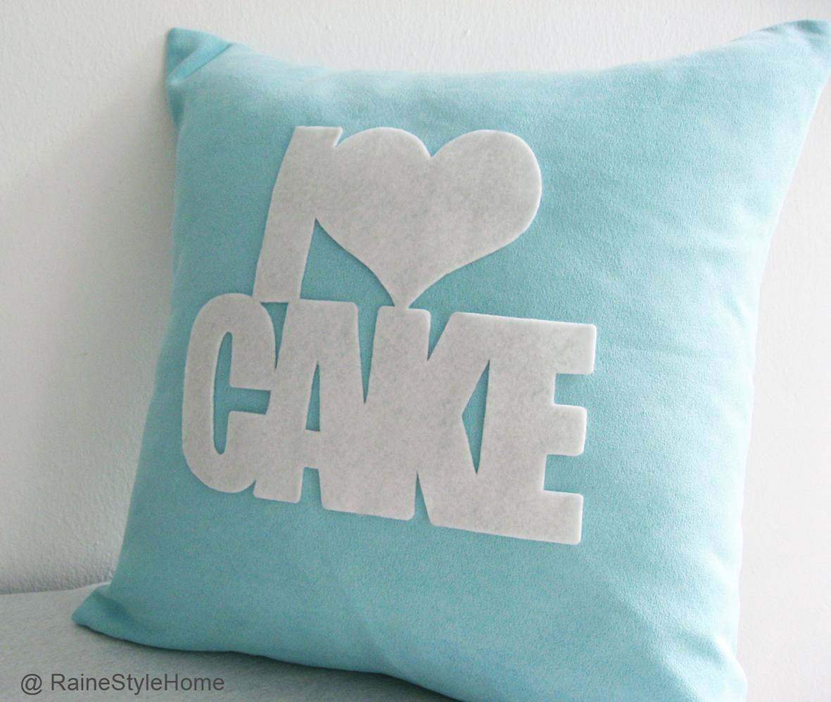 I love cake turquoise cushion side new