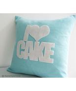 Handmade I Love Cake Turquoise And White Pillow Cover. Decorative Cushio... - $28.90