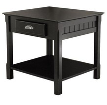 Black Wood End Table with Shelf and Storage Drawer Bedside New - $128.00